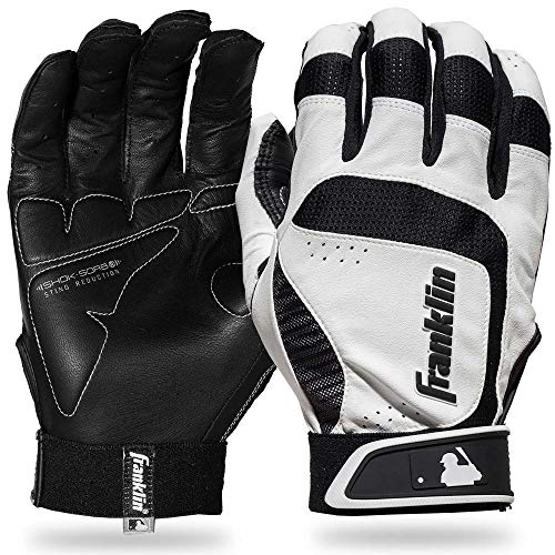 Franklin Sports MLB Adult Shok-Sorb Neo Batting Gloves, White/Black, Large