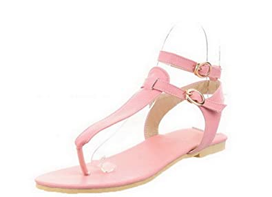 77f7a99a7db42 WeiPoot Women s Buckle Split Toe Low-Heels PU Solid Sandals