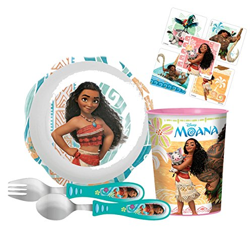 Zak! Designs Kids Mealtime Set Includes Bowl, Tumbler Cup, Fork and Spoon Featuring Disney's Moana! BPA-free, 4 Piece Set