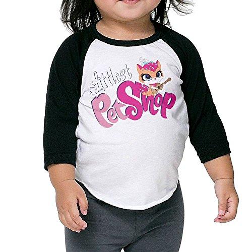 Grace Little Littlest Pet Shop Cool Boys & Girls Toddler 100% Cotton 3/4 Sleeve Raglan Tee Unisex Black