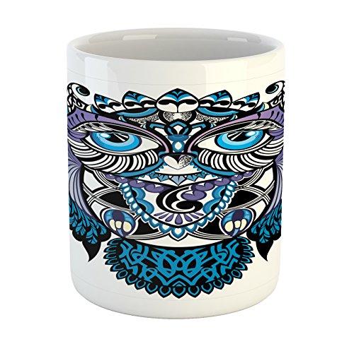 New School Owl Tattoo - Ambesonne Tribal Mug, Owl Bird Animal