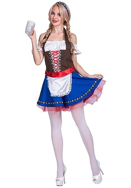 ZEVONDA Mujer Nuevo Disfraz de Fiesta de Halloween Oktoberfest Bar ...