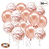 Toys : Rose Gold Confetti Latex Balloons, 50 Pack 12 inch Birthday Balloons with 65 Feet Rose Gold Ribbon for Party Wedding Bridal Shower Decorations