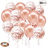 Rose Gold Confetti Latex Balloons, 50 Pack 12 inch Birthday Balloons with 65 Feet Rose Gold Ribbon for Party Wedding Bridal Shower Decorations