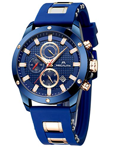 MEGALITH Mens Watches Chronograph Waterproof Watches for Men Analogue Designer Wrist Watches Quartz Luminous Date Black…