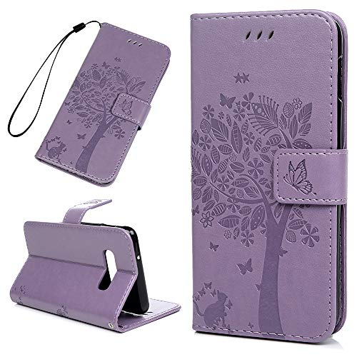 Galaxy S10e Case, Badalink Samsung S10e Case Wallet Flip Protective Cover Tree Butterfly Leather Bumper Skin Magnetic Kickstand Shell Card Slot Cute Skin for Samsung Galaxy S10e (Purple) ()