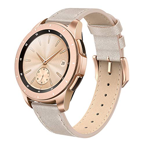 SWEES Leather Band Compatible Galaxy Watch 42mm, 20mm Genuine Leather Bands Replacement with Quick Release for Samsung Galaxy Smartwatch 42mm Women Girls & Gear S2 Classic & Gear Sport, Champagne