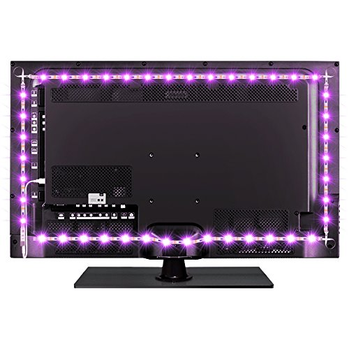 BASONLIGHTING Bason USB LED TV Bias Lighting Backlight Strip for 30 to 40 Inch Flat HDTV 20 Color Options Sync Switch On/Off with TV Dimmable Remote Control
