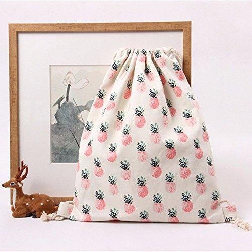 White Geometric Unisex Drawstring Pineapple Bags Printing Retro Backpacks TianranRT Backpack BK8ZyPnP