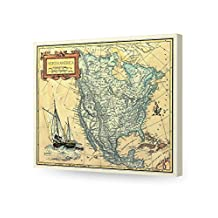 """DecorArts - North America Map, Ancient Map Reproduction. Canvas art wall decor. Giclee Print. Map of Historical North America. Antique vintage old style Decoration. Stretched Canvas Museum Wrapped.20x16"""""""