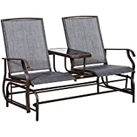 2-Person Mesh Double Glider with Tempered Glass Attached Table (Gray/Red)