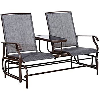 Outsunny 2 Person Outdoor Mesh Fabric Patio Double Glider Chair W/Center  Table