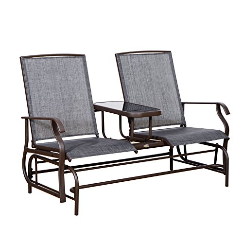 Outsunny 2 Person Outdoor Mesh Fabric Patio Double Glider Chair w/Center (Outdoor Double Rocker)