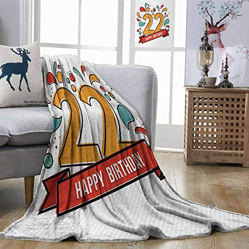 - Zmstroy Decorative Throwing Blanket 22nd Birthday Colorful Anniversary Invitation Typography Design with Modern Graphic Print Multicolor Lightweight All-Season Blanket W54 xL72