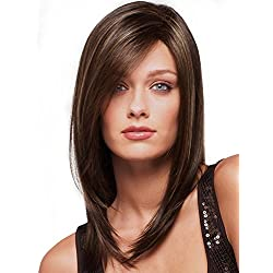 Cool Medium Length Gold And Brown Secondary Colors Natural Straight center part With Blonde Highlights Hair Style Women Wig