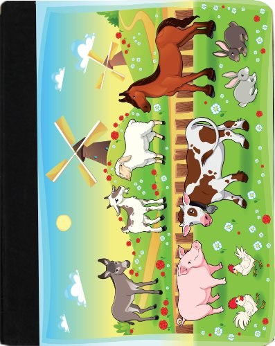 Rikki Knight Farm Animals With Background Faux Leather Case