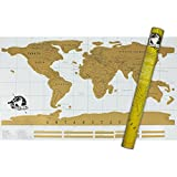 Scratch Off World Map Poster – Perfect Gift Travelers Gold and Large Size 35x20 inches