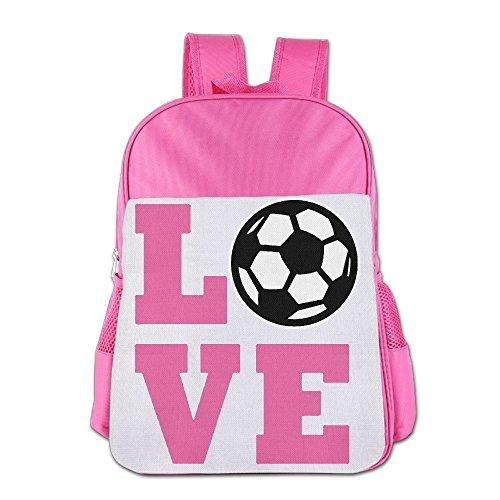 I Love Soccer Boy's & Girls's Schoolbag School Bag Shoulders Bag For 4-15 Years Old Pink