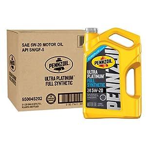 Pennzoil 550045202-3PK Ultra Platinum 5 quart 5W-20 Full Synthetic Motor Oil