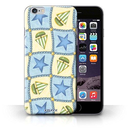 Hülle Case für iPhone 6+/Plus 5.5 / Blau/Grün Entwurf / Boote und Sterne Collection