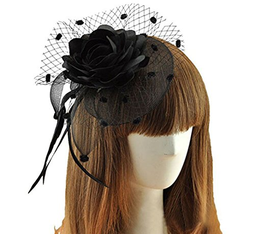 Coolwife Womens Fascinator Veil Flower Cocktail Tea Party Headwear (Black) (Cute Flapper Costumes)