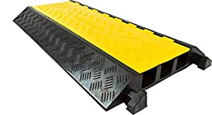 """Kable Kontrol Atlas Heavy Duty Cable Protector Ramp - 3 Channel - 37.75"""" Long - Black & Yellow - Channel Size - 2.125"""" Width x 2.5"""" Height 