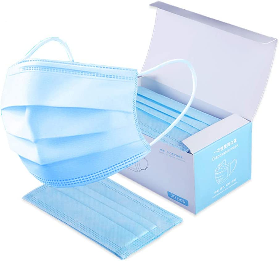 50, White 50 Pcs Face Cover 3 Ply ᴹᵃˢᵏ Hygiene and Protection Anti-Dust Cover High Filtering Rate Face Cover Single Use