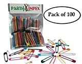 #7: PARTH IMPEX 100 Colored Safety Pins Extra Large Sturdy Painted 2 Inches/50 mm Sewing Art Craft Work DIY Project Pin Needles (Pack of 100 in 10 Colors)