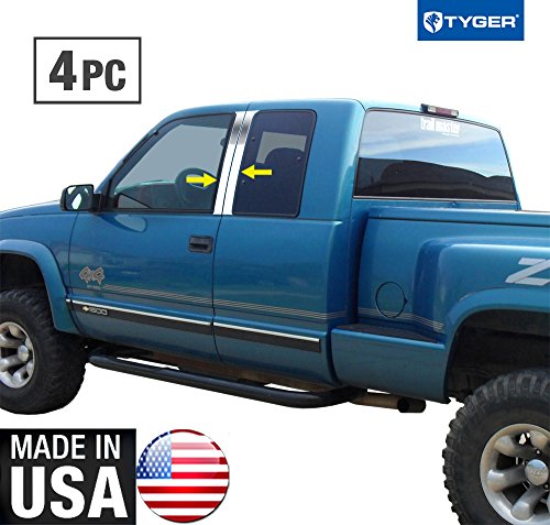 Tyger Auto Made in USA! Works with 1988-1998 Chevy Silverado/Sierra Pickup Ext Cab 4PC Stainless Pillar -