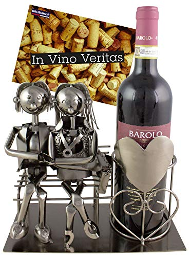 (BRUBAKER Wine Bottle Holder Statue Love Couple On The Bench Sculptures and Figurines Decor & Vintage Wine Racks and Stands Gifts Decoration)