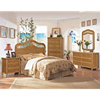 Captivating ... Worldwide Hospitality Furniture. Anitque Honey Wicker 4 Piece Bedroom  Set, Santa Cruz, Includes Queen Headboard, NS
