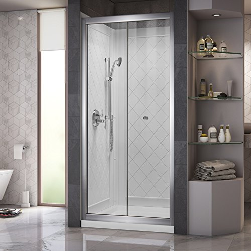 (DreamLine Butterfly 32 in. D x 32 in. W Sliding Bi-Fold Shower Door in Chrome and Center Drain White Acrylic Base and Backwall Kit,)