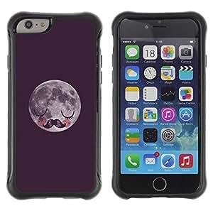 Fuerte Suave TPU GEL Caso Carcasa de Protección Funda para Apple Iphone 6 / Business Style moon hipster night sleep moustache