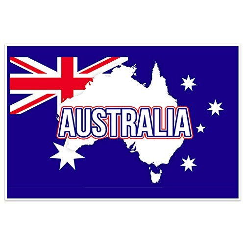 Australia Flag With Country Text Wall Art - Usps To Australia Priority Mail
