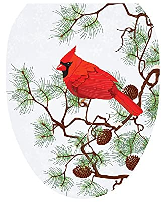 Toilet Tattoos, Toilet Seat Cover Decal, Winter Cardinal, Size Elongated