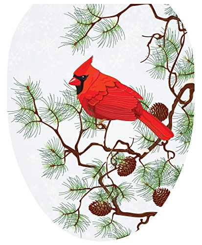 Toilet Tattoos 671297109501 Winter Cardinal Toilet Lid Cover