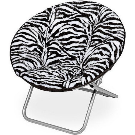 (Mainstays Faux-Fur Saucer Chair with Cool faux-fur fabric, soft and wide seat, Perfect for lounging, dorms or any room in Multiple colors (Zebra))