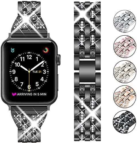 Supoix Compatible with Apple Watch Band 42mm 44mm 38mm 40mm, Women Jewelry Bling Diamond Rhinestone Replacement Metal Wristband Strap for iWatch Series 5/4/3/2/1(Black)