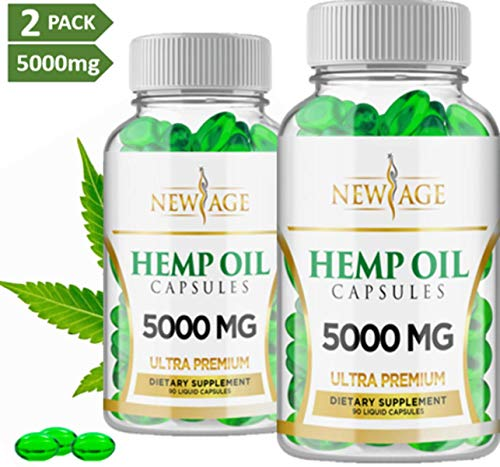 (2 Pack) Hemp Oil Capsules - 5000 MG of Pure Hemp Extract Per Bottle - Pain, Stress & Anxiety Relief - Natural Sleep & Mood Support - Made in The USA - Maximum Value - Rich in Omega 3,6,& 9,