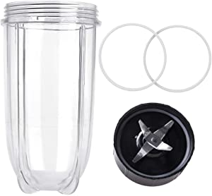 QUIENKITCH Magic Bullet Replacement Cups, 16OZ Cups & Cross Blade & Gaskets 4PCS/SET Replacement Parts FOR 250W Magic Bullet Blender Juicer/Mixer MB1001 Accessories