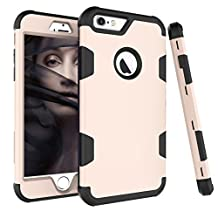 iPhone 6s Plus Case, MCUK [Shock Absorption] [Scratch Resistant] 3 in 1 Silicone Rubber Skin Hard Back Cover Heavy Duty High Impact Hybrid Case For iPhone 6s plus/6 plus(5.5 inch) (Gold Black)