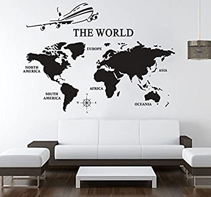 Amazon large world map wall decals vinyl art sticker world map large world map wall decals vinyl art sticker world map office decor home decor gumiabroncs Images