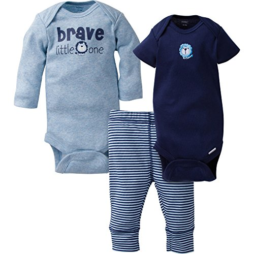 3 Piece Long Sleeve Onesie (Gerber Baby Boy 3 Piece Long and Short Sleeve Onesies With Pant, brave, 3-6 Months)