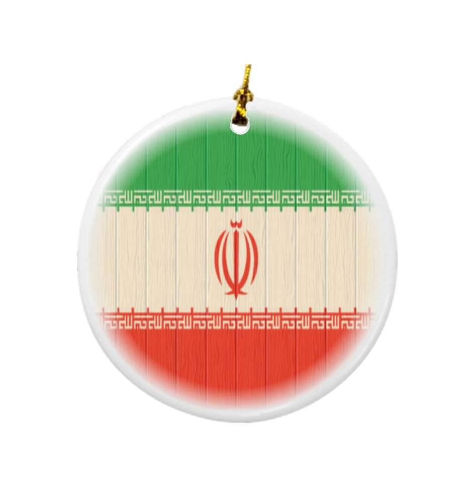 Rikki Knight Iran Flag on Distressed Wood Design Round Porcelain Two-Sided Christmas Ornaments by Rikki Knight (Image #1)
