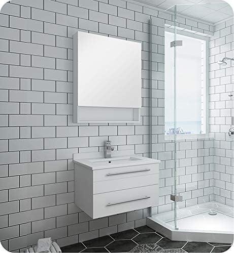 Fresca Lucera 24 White Wall Hung Undermount Sink Modern Bathroom Vanity W Medicine Cabinet Amazon Com