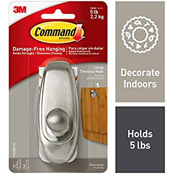 Command Silver Hook, Holds 5 lbs, Indoor Use (17063BN-ES)