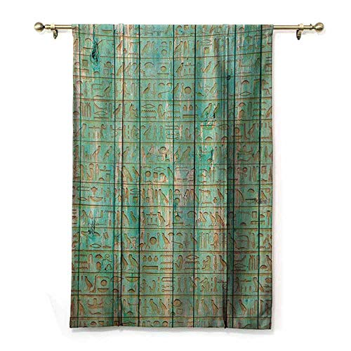 - HCCJLCKS Kids Room Curtains Egypt Ancient Hyeroglyphs Icons on Wooden Board Mystic Egyptian Mummy Motherland Culture Image Privacy Protection Seafoam W32 xL72