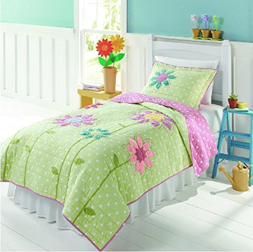 FADFAY Home Textile,Cute Girls Patchwork Quilt Set,Quilted Bedspreads,Kids Sunflower Comforter Bedding Set,Twin/Full
