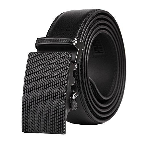 (QBSM Mens Genuine Leather Ratchet Dress Belts, Slide Click Belts for Men, Exquisite Gift Box, Black 05)