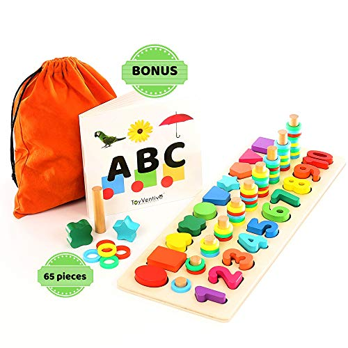 TOYVENTIVE Wooden Shapes Number Puzzle - Preschool Educational Toddler Learning Montessori Toys for Toddlers | Wood Puzzles Sorting Toys for Kids | Gifts for 3, 4 Year Old Boy and Girl